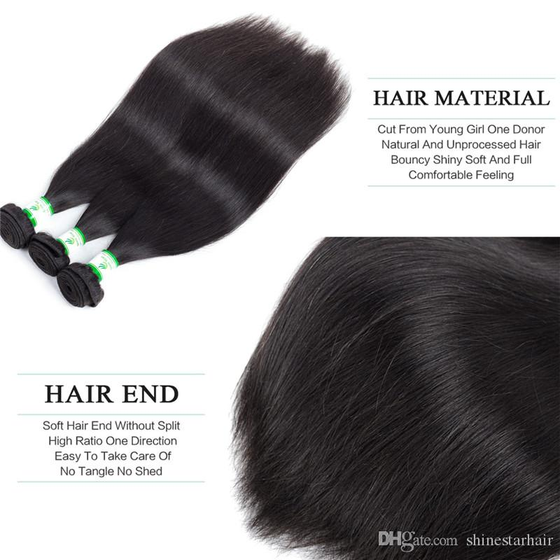 3/4 Bundles Brazilian Malaysian Peruvian Silk Straight Human Hair Weave Brazilian Silk Straight Virigin Hair Extensions Brazilian Straight