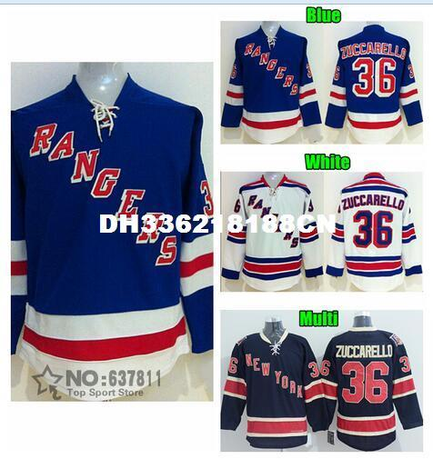cheaper d5caa de912 Cheap #36 Mats Zuccarello Jersey Hockey Jerseys Multi Blue White Alternate  Stitched Jerseys Free Shipping