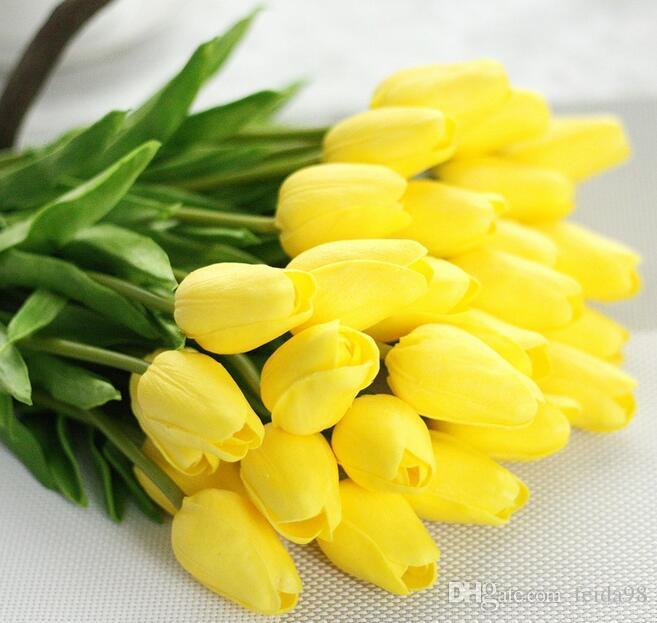 Pu mini tulipano fiore reale tocco matrimonio bouquet di fiori artificiali fiori di seta la casa decorazione del partito G499
