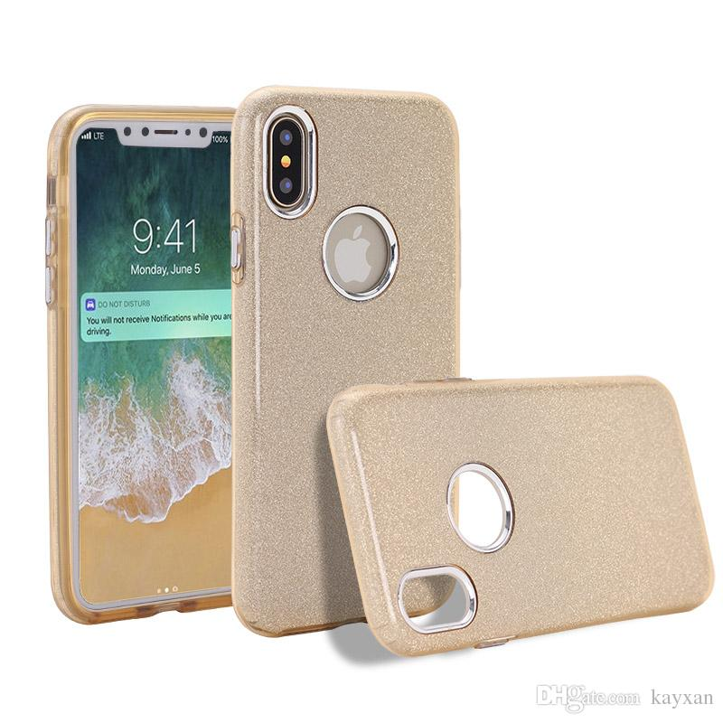 Flash powder phone shell For iPhone 6 6S 7 8plus case TPU PC innovative 3 in 1 creative button plating s6 s7 note8