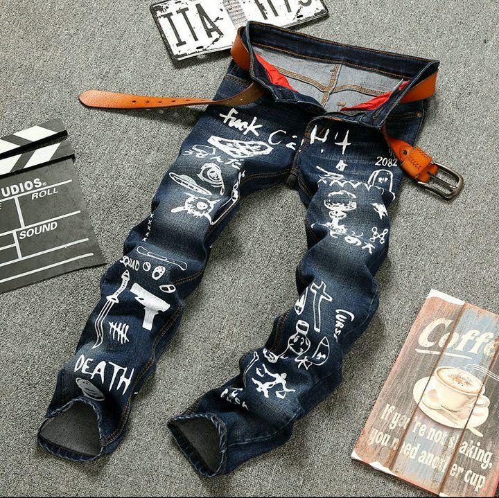 2017 Nueva Moda Comming Marca impresa Jeans para hombres Slim Hip Hop Azul Oscuro Vaqueros Esquís Motocicleta Rock Star de Calidad Superior Pantalones Demin Retro