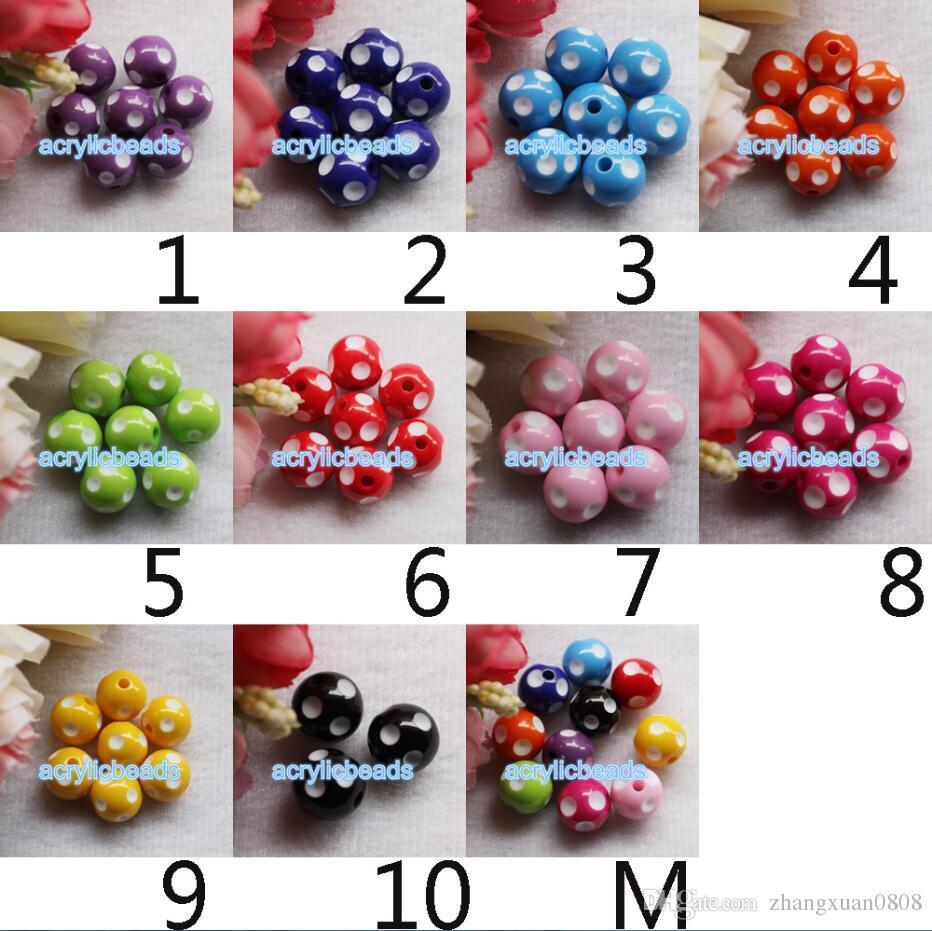 18MM Factory Chunky Acrylic Gumball Polka Dot Round Resin Beads Plastic Bubblegum Balls Jewelry Making DIY