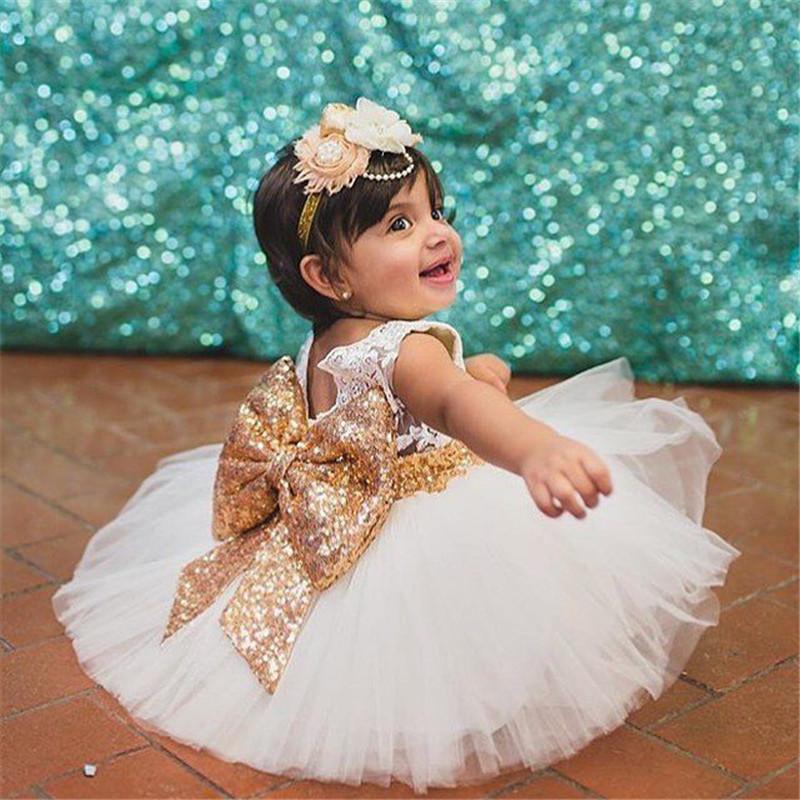 Großhandel 2017 Babykleid Mädchen Pailletten Bowknot Baby Mädchen ...