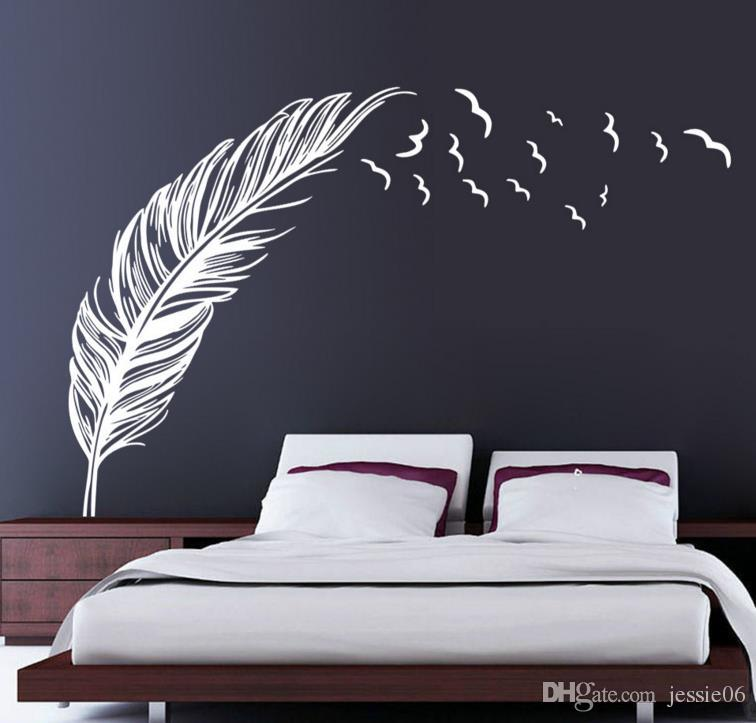"Birds Flying Feather Wall Stickers Removable Bedroom Home Decal Mural Art Decor Wedding Party Background Decorations 47""x71"""
