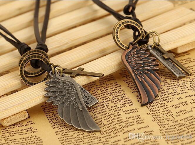 Hombres Vintage Angel Feather Eagle Wing Cross Collar de Cadena de Cuero Colgante Regalo G540
