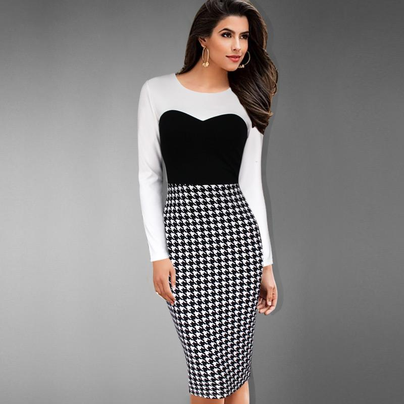 109881fb89fd New Fashion Women'S Elegant Colorblock Contrast Houndstooth Tunic Wear To  Work Office Business Sheath Stretch Bodycon Dress Blue Dress Girls Dresses  From ...
