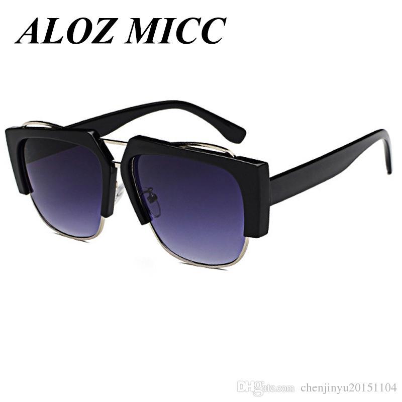 Compre Aloz Micc Moda Gafas De Sol Sin Montura De Mujer Chic Shield ...
