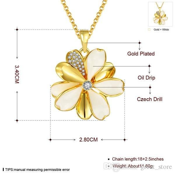 무료 배 꽃 18K 골드 플레이트 쥬얼리 목걸이 맞는 여성 GGN915, 옐로우 골드 화이트 보석 펜던트 목걸이 체인
