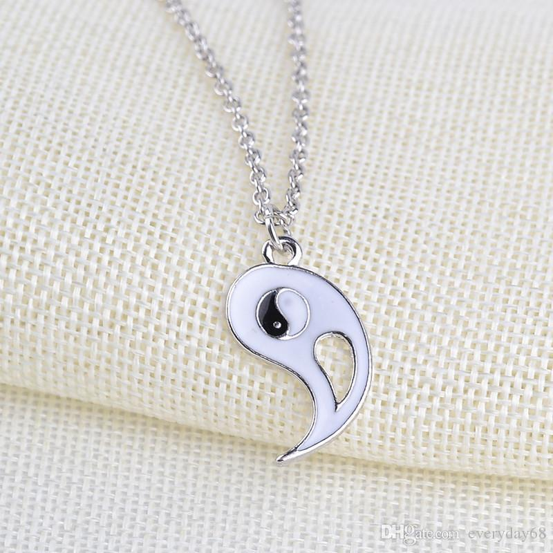 best friends necklace BBF Friendship Jewelry Couple yin yang ying yan Pendant Necklace Black White enamel chain stetement necklaces fatory