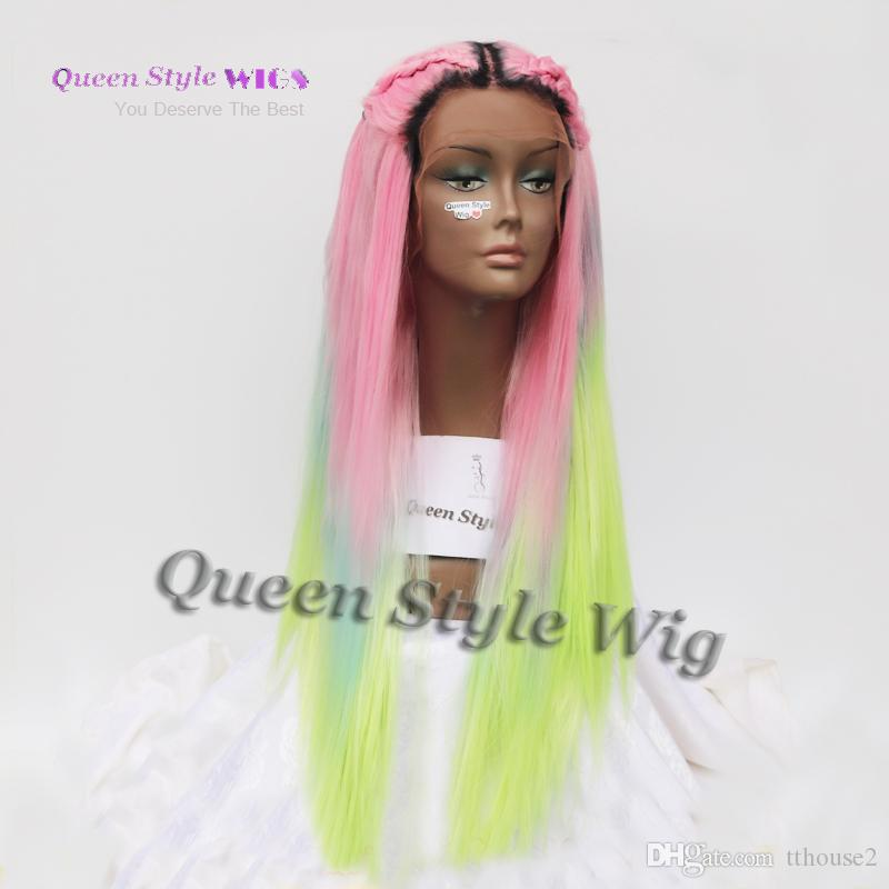 Mermaid Colorful Rainbow Hair Wig Synthetic Pastel Rainbow Color Pink/ Bright Blue/ Fluorescent Green Ombre Hair Lace Front Wig