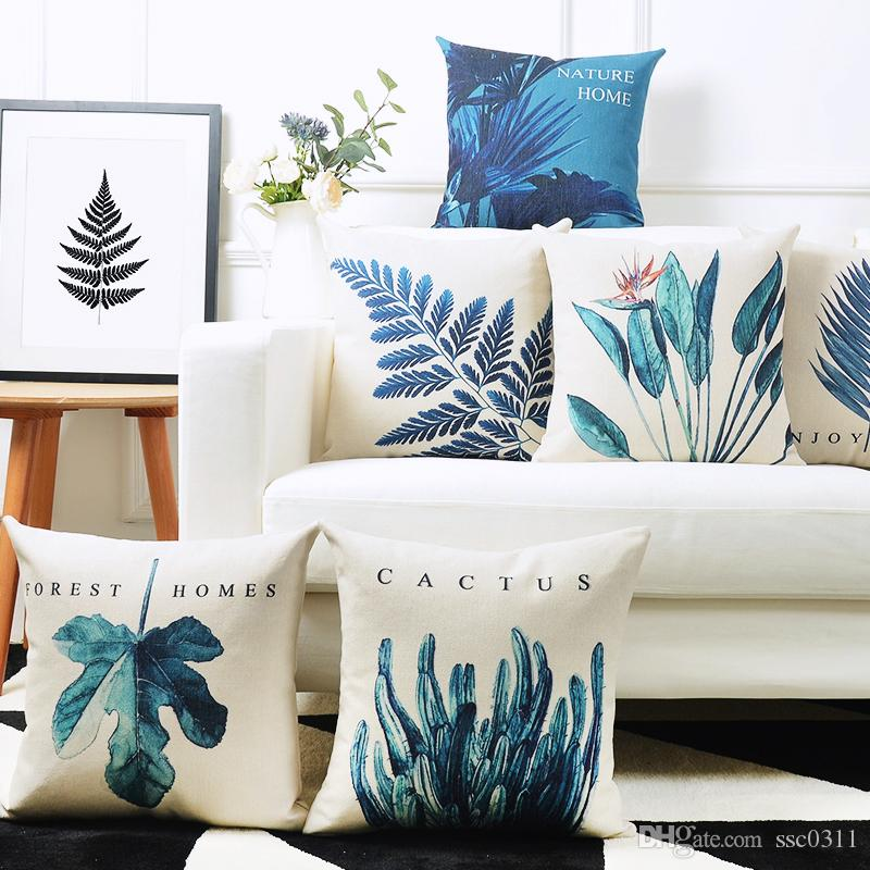 On Sale New List Tropical Leaves Cushion Covers For Sofa Cyan