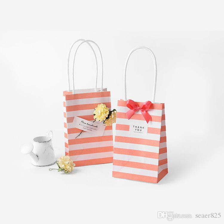 Small gift Wrap paper bag with handles bow Ribbon stripe handbag Cookies candy Festival gifts Wrappackaging bags Jewelry birthday Wedding party favors