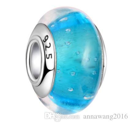 Top Qaulity 10 Stück 925 Sterling Silber Murano Murano Glasperlen Charme Großes Loch Lose Perlen Für Pandora Europäischen Armband Halskette 5 Colo