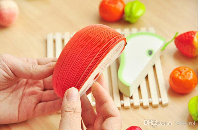 Trendy Korean Style Cute Apple Notizpapier Obst Hinweis Notizblöcke Tragbare Scratch Paper Notizblöcke Post Sticky 3D Apple Form Birnenform