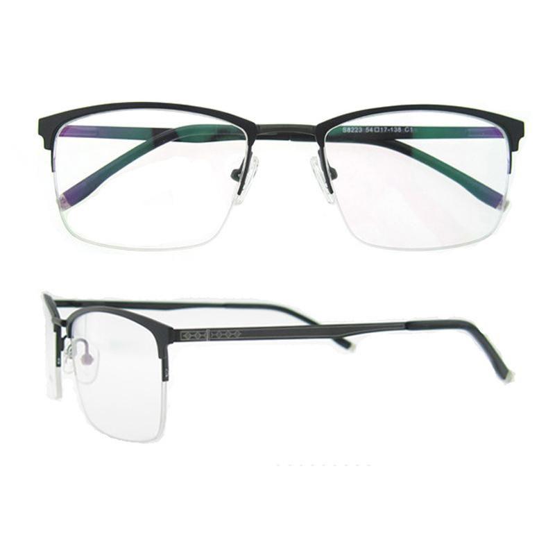 2017 Rectangle Semi Rim Bussiness Reading Men Eyeglasses Frame Metal ...