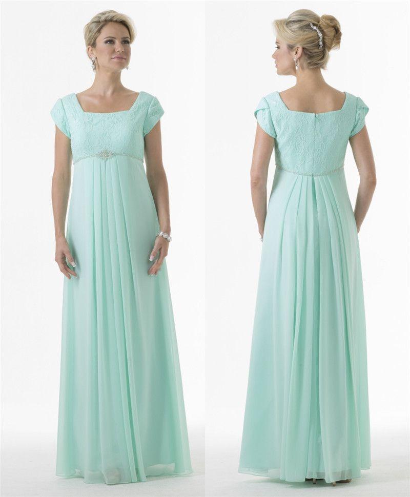 Custom Made Mint Green Long Modest Bridesmaid Dresses 2017 With Short Sleeves  Lace Chiffon Beaded A Line Maternity Bridesmaids Dresses Beach Wedding ... 8261f0b28728