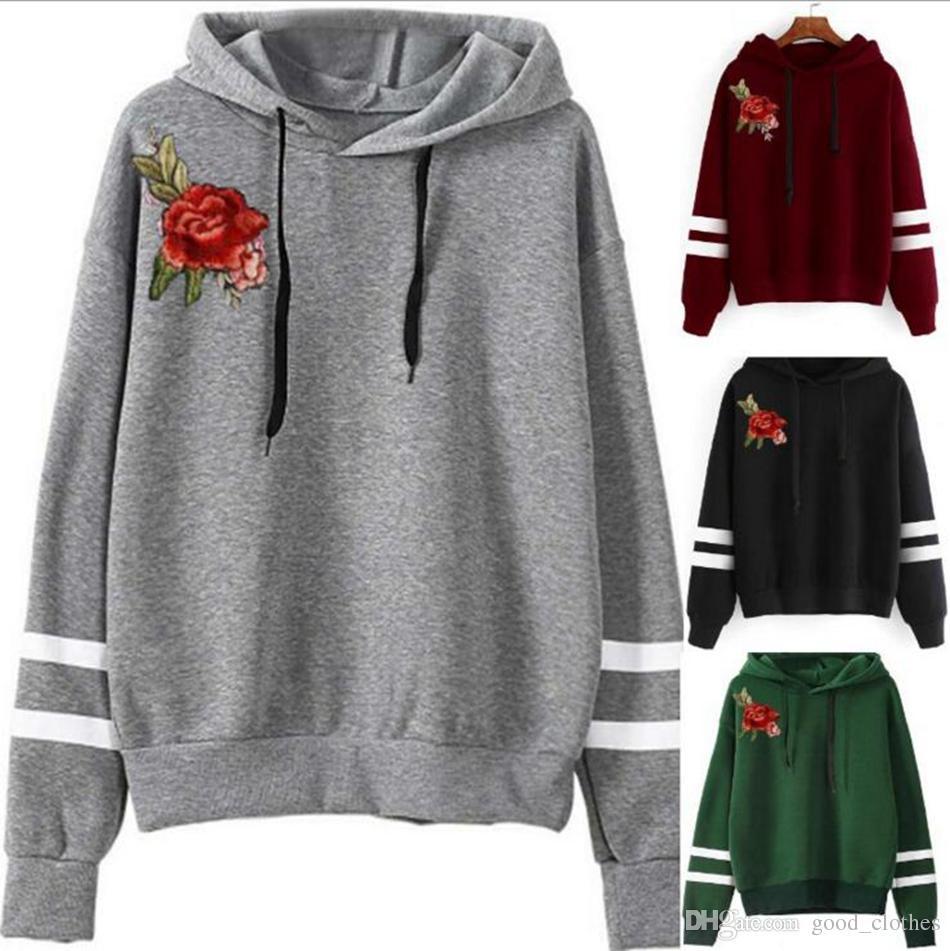 fced884fd Compre Mulheres Inverno Bordado Rosa Flor Hoody Pulôver Sweatshirt Casual Sweater  Luva Longa Moletom Hoodie Jumper Casacos OOA3188 De Good clothes