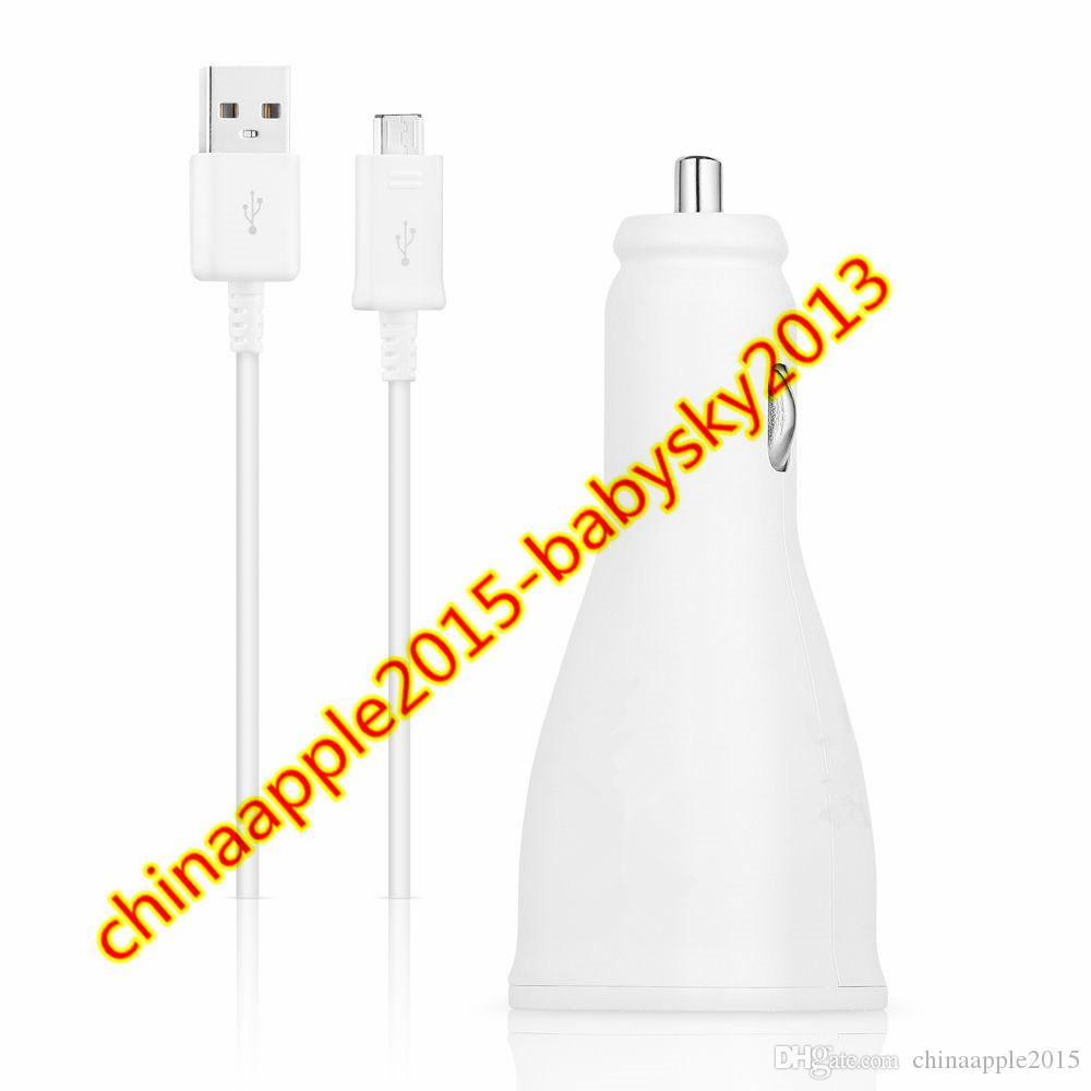 Fast Rapid Adaptive Charge Dual usb Ports 5V 2A 9V 1.67A Car charger 1.5M Micro Usb Cable for samsung s6 s7 edge note 4 5 android phone