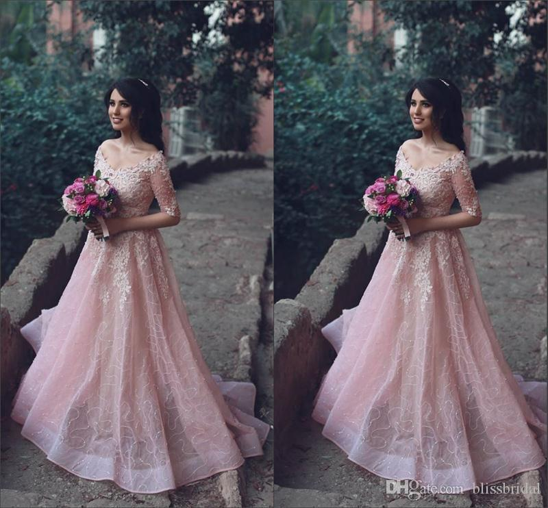 Fantsatic 1/2 Sleeve Wedding Gowns Off-the-Shoulder Illusion A-Line Wedding Dresses 3D-Floral Appliques Embroidery Tulle Bridal Gowns 2017