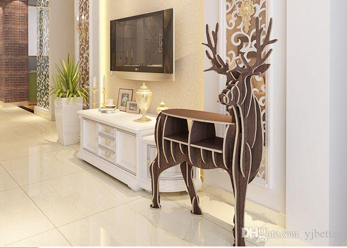 YJBETTER DIY 3D Holz Puzzle Deer Decor Gefälschte Tier Faux Deer Decor Handwerk Holz Kunst, Holz Bücherregal