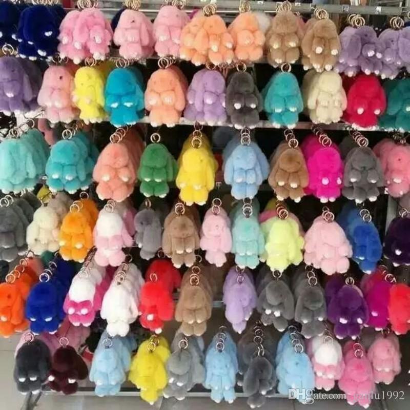 Pingente Super Bonito Pele De Cabelo De Vison Jogar Dead Rabbit Chave Do Carro Pacote de Cabelo Rex Coelhos Acessórios Para o Cabelo Multicolor Selecionar 14 5cy I1