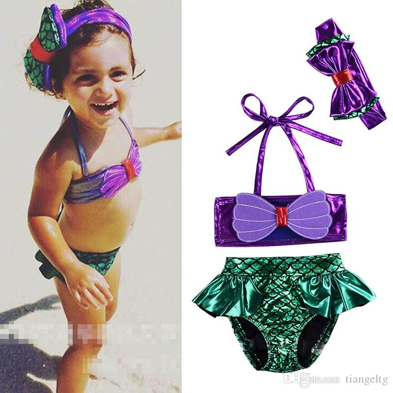 81aac05f0835f Girls Swimsuit Three-pieces Mermaid Tails Bikini Bowknot Fish Scale One-piece  Two-piece Suit + Hairband Bikini Dress Children Costume LG-3