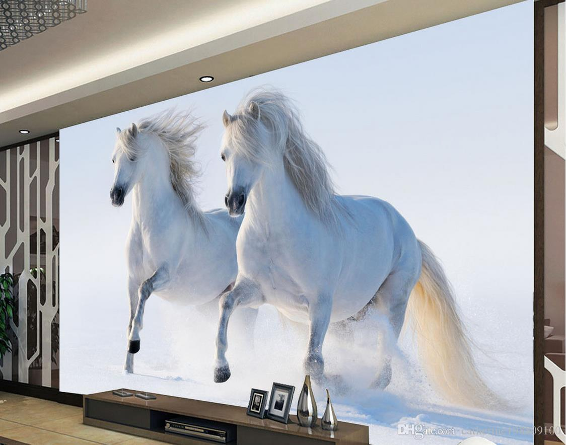 3D Wall Painting horse running decorative painting background wall mural 3d