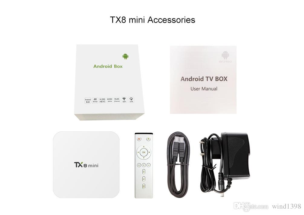 Yeni varış android 6.0 TV KUTUSU TX8 MINI Amlogic S912 Octa çekirdek 2 GB / 16 GB 2.4G / 5.8G WIFI HDMI akıllı kutu