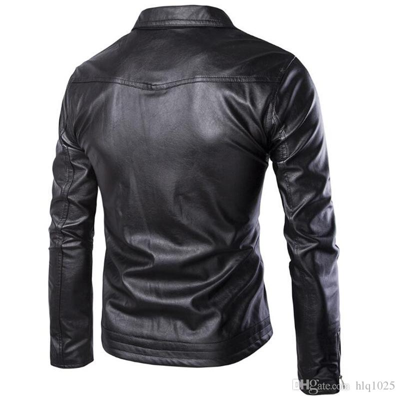 Brand Men PU Zipper Faux Leather Jacket Good quality Punk Long Sleeve Motorcycle Coat Hip-hop biker swag Jacket