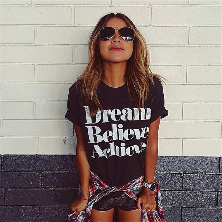 Wholesale-2016 Summer Fashion Dream Believe Achieve Printing Shirt Casual Women Top Tees Cotton All Match Letter T-Shirt Blusas Femininas