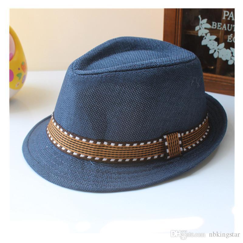 Summer Unisex Kids Straw Fedora Sunhat Beach Fashion Panama Cap With Ribbow Trim Children Soild Trilby Hats For Boy And Girl