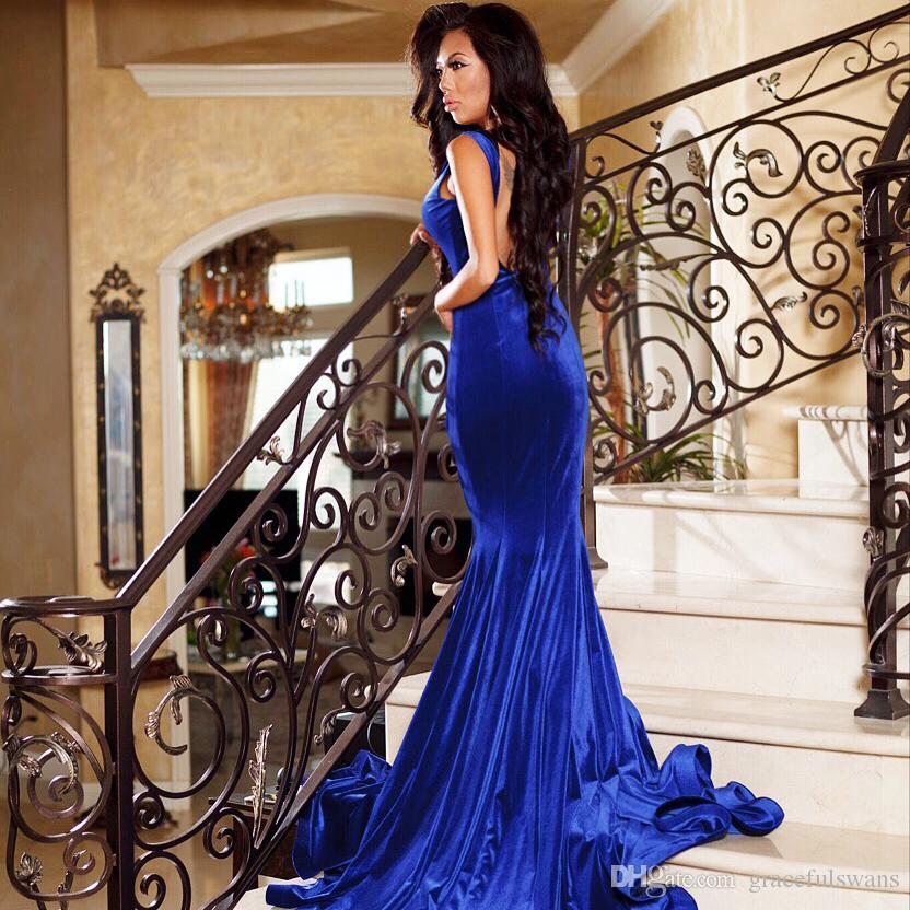 Royal Blue Mermaid Velluto Abiti da sera formale 2019 Sweetheart Tank Graceful Abiti da sera lunghi Leg Slit Abiti da festa vestido de festa