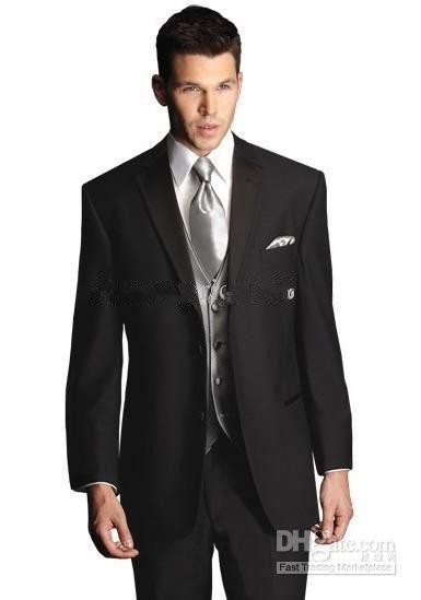 최고 품질 두 버튼 블랙 새로운 노치 옷깃 신랑 턱시도 / 웨딩 남자 정장 신랑 정장 자켓 + 바지 + 타이 + 조끼 KO : 11