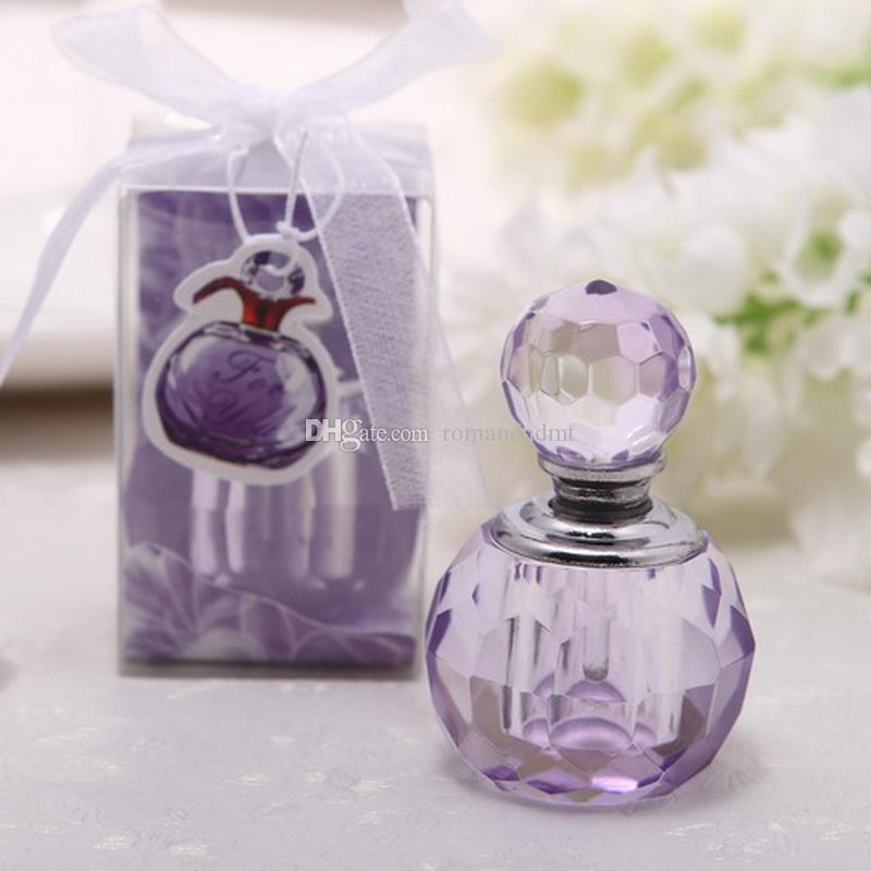 Wedding favor gift crystal round perfume bottles decoration wedding party gifts purple and pink+DHL