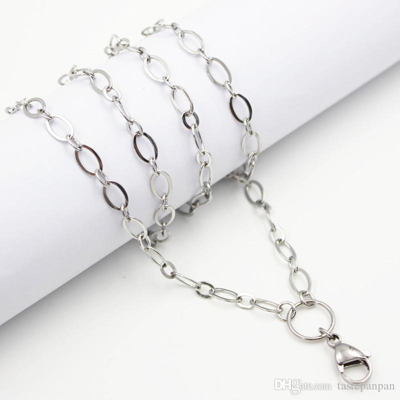 "Panpan Jewelry! 32"" 80cm stainless steel large flat oval link custom chain floating locket necklace chain"