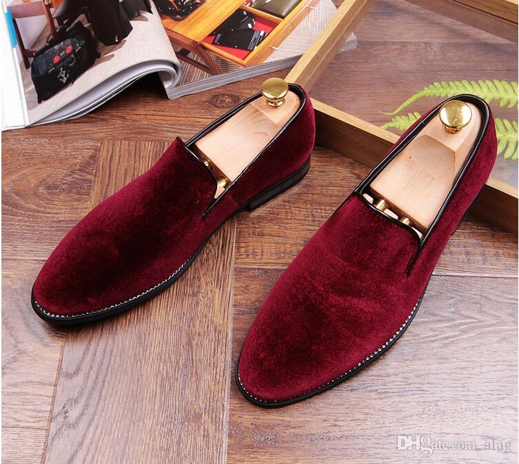 c80291bd72c93 Promotion New Spring Men Velvet Loafers Party Wedding Shoes Europe Style  Red/Black Velvet Slippers Driving Moccasins AXX145 Slip On Shoes Mens  Loafers From ...