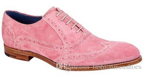 2019 mode gentleman kleid schuhe wildleder müßiggänger schnüren spitz wohnungen herren party schuhe rosa farbe Oxford wohnungen