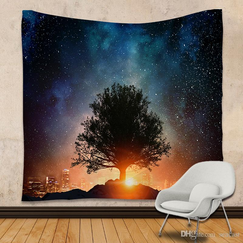 Galaxy Tapestry Stars Universe Decorative Wall Tapestry Printed Room Dorm Tapestry 150 X 210cm Yoga Mat Picnic Blanket