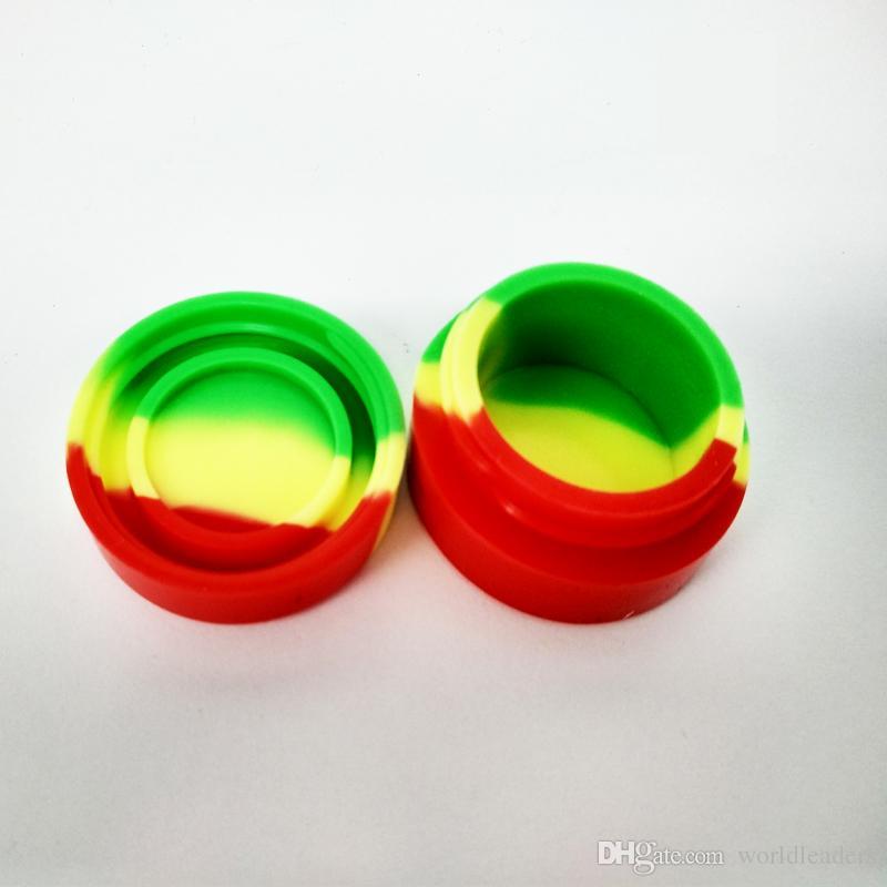 Caja de silicona de calidad alimentaria Caja de silicona de colores Contenedor de cera de silicona plana, 3ml 5ml Estuche antiadherente para tarros de limpieza Soporte Dabber Oil Holder