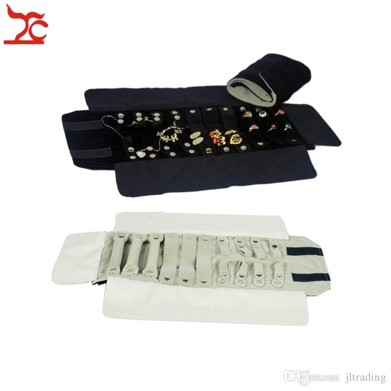 Portable Small Velvet Travel Jewelry Case Roll Bag Pendant Bracelet Ring Storage Organizer Carring Pouch Gray and Black 12*16cm