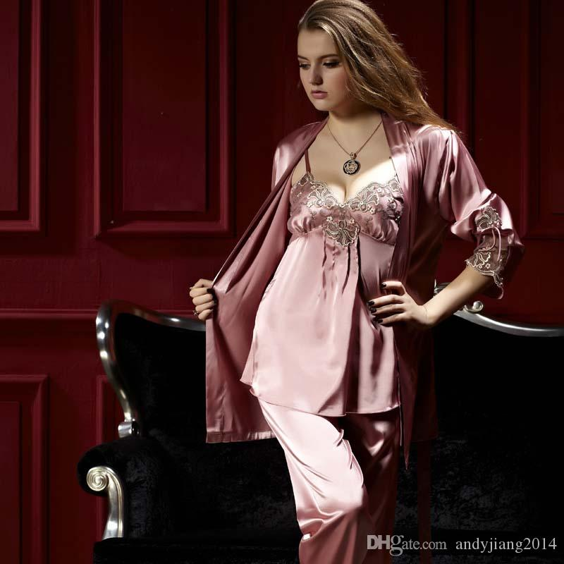 Best 0339 Gorgeous Silk Blend Women Ladies Sleepwear Pajamas Sets Sleep Shirts  Long Sleeve Tops Pants Robe Set Nightclothes Nightdress Nighties Under   30.71 ... 530508d5b