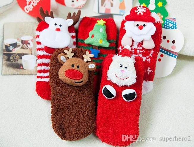 4e1fb6288a7 Christmas Socks Slipper Baby Kids Winter Warm Thicken Cotton Non Slip Floor  Socks Cartoon 3D Snowman Santa Deer Sock 1Y 3Y New Year Gift Toe Socks For  Kids ...
