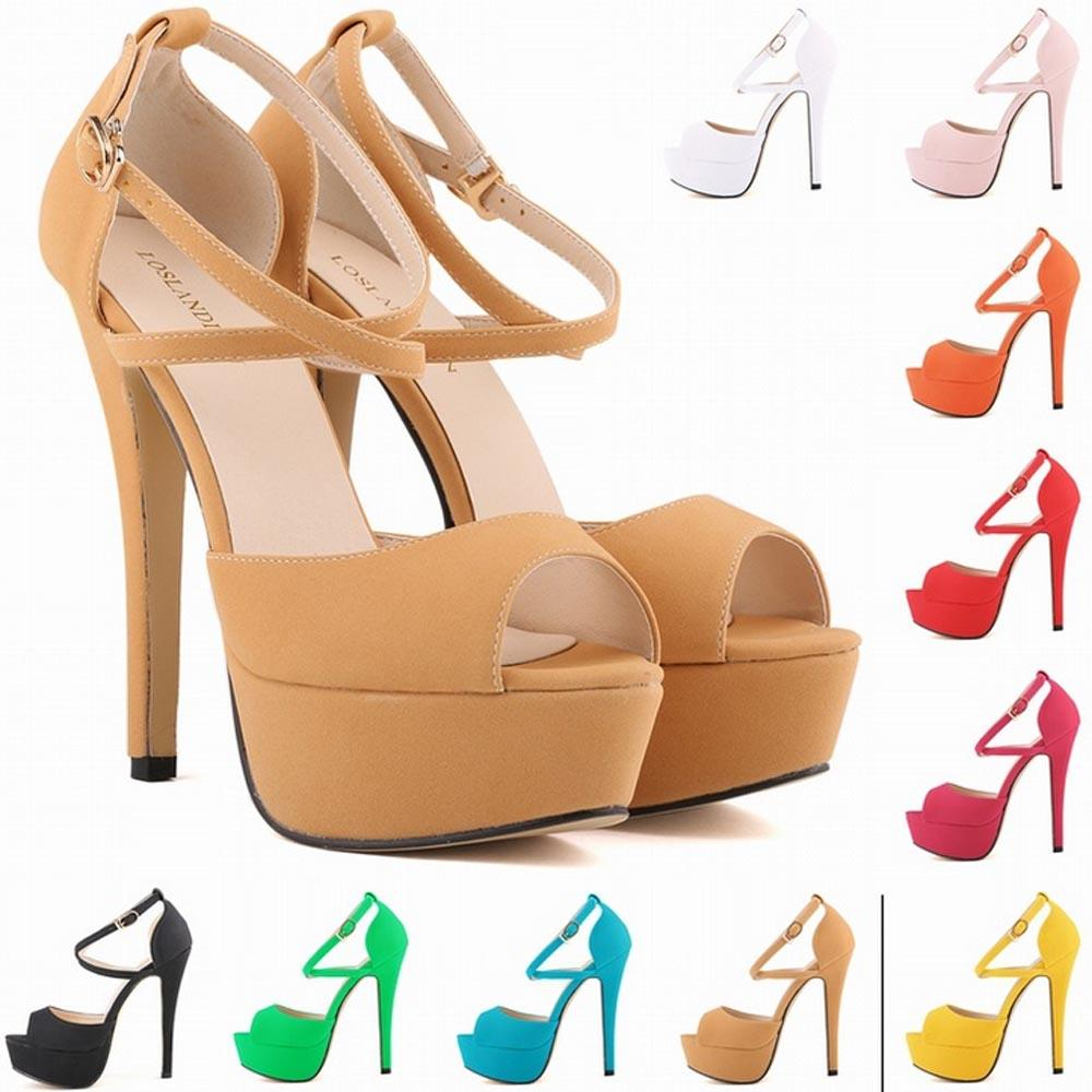 be7b9904e2 Sapato Femin Hot New Open Toe Strappy Platform Faux Suede Thin High Heels  Sandals Shoes Sapatos Femininos 14CM US SIZE 4 11 D0101 Silver Wedges Brown  Wedges ...