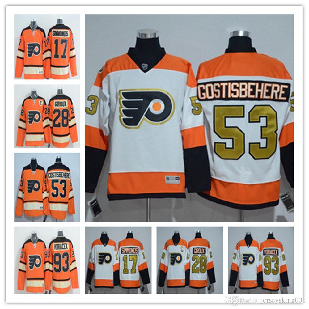 best sneakers a7738 5163e Philadelphia Flyers 50th Anniversary #11 Travis Konecny #53 Shayne  Gostisbehere #17 Wayne Simmonds #28 Claude Giroux Orange Hockey Jerseys