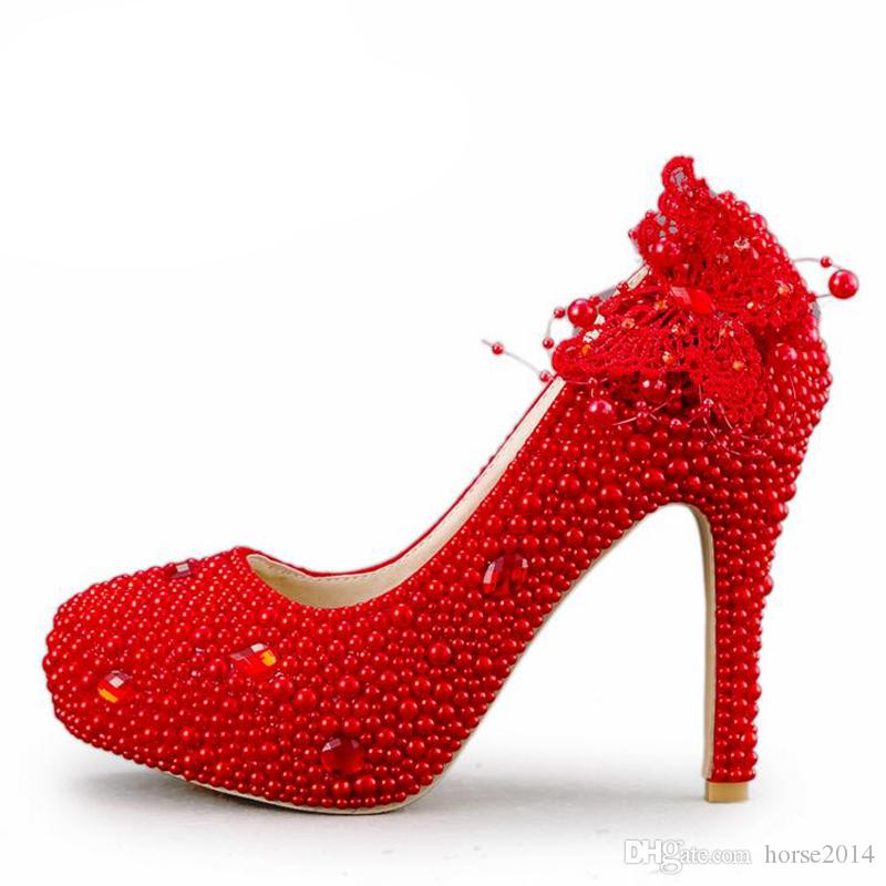 bdda8d267fad Wedding Shoes Handmade Red Pearl High Heels Lace Butterfly Women Pumps  Bridal High Heel Shoes New Design Adult Ceremony Shoes Red Bridesmaid Shoes  Red Heels ...