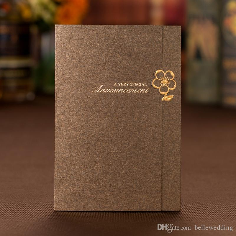 wedding invitations sets free printing with gilding flower chocolatecoffee brwon personalized chinese wedding invitations cards bw i0026 indian wedding - Wedding Invitations Sets