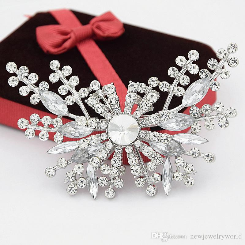 Sparkling Clear Czech Stone Crystals Luxury Large Butterfly Flower Brooch Elegant Wedding Bridal Bouquet Pin Brooch Women Gift Hijab Pin