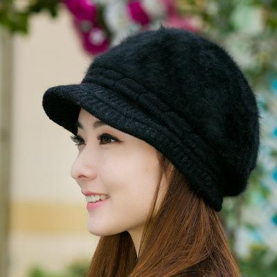 Cashmere Knitted Hat Korean Type Winter Women s Beret Peaked Cap ... 49130effc19