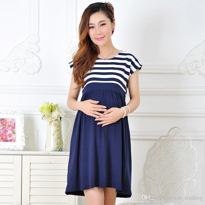 da52e8ee1 Compre Nuevas Mujeres Vestidos Largos Maternidad Más Tamaño Vestido De  Rayas Casual Para Mujeres Embarazadas Embarazo Vestido De Las Mujeres Ropa  Madre Ropa ...