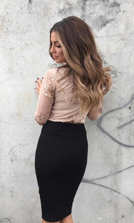 2018 Nuovo arrivo manica lunga con scollo a V piccolo medio grande più dimensioni nero oro con paillettes garza tuta sexy con paillettes pagliaccetto sequin tuta